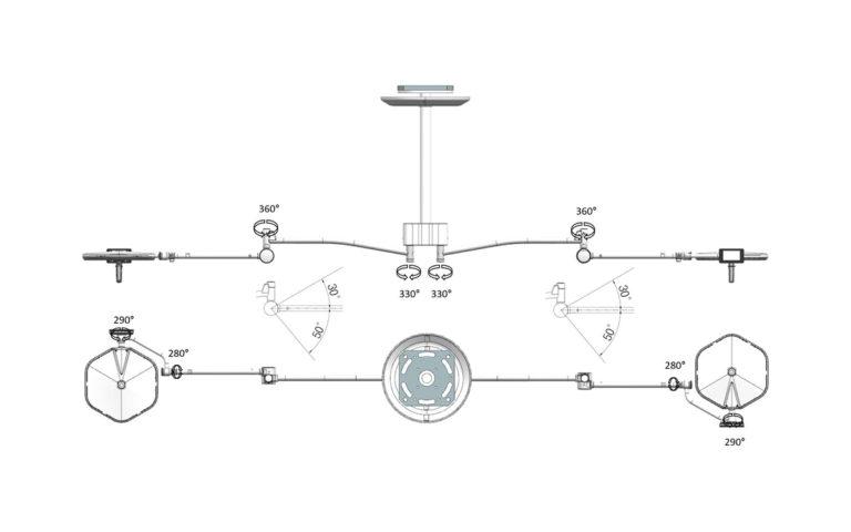 Operační svítidlo Luvis S-300 D dvojité stropní